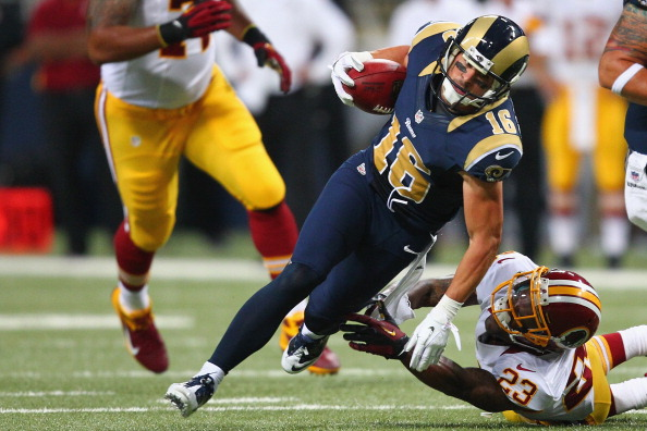 ST. LOUIS, MO - SEPTEMBER 16: Danny Amendola #16 of the St. Louis Rams avoided a tackle attempt by DeAngelo Hall #23 of the Washington Redskins at the Edward Jones Dome on September 16, 2012 in St. Louis, Missouri.  (Photo by Dilip Vishwanat/Getty Images)