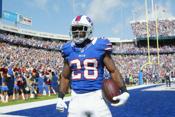 ORCHARD PARK, NY - SEPTEMBER 16:  C.J. Spiller #28 of the Buffalo Bills celebrates his second touchdown against the Kansas City Chiefs at Ralph Wilson Stadium on September 16, 2012 in Orchard Park, New York.  (Photo by Rick Stewart/Getty Images)