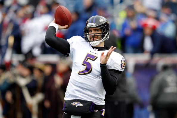 FOXBORO, MA - JANUARY 22:  Joe Flacco #5 of the Baltimore Ravens warms up prior to playing against the New England Patriots in their AFC Championship Game at Gillette Stadium on January 22, 2012 in Foxboro, Massachusetts.  (Photo by Rob Carr/Getty Images)