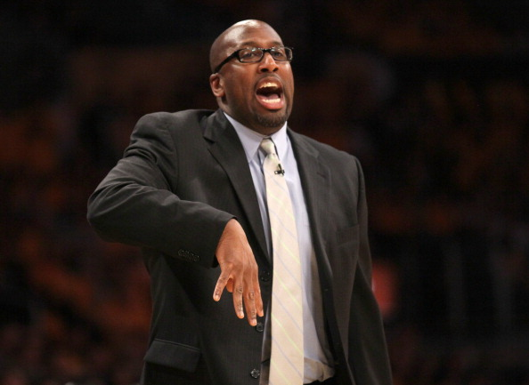 LOS ANGELES, CA - MAY 18:  Head coach Mike Brown of the Los Angeles Lakers shouts and signals a play during the game against the Oklahoma City Thunder in Game Three of the Western Conference Semifinals in the 2012 NBA Playoffs on May at Staples Center on May 18, 2012 in Los Angeles, California. The Lakers won 99-96.  NOTE TO USER: User expressly acknowledges and agrees that, by downloading and or using this photograph, User is consenting to the terms and conditions of the Getty Images License Agreement.  (Photo by Stephen Dunn/Getty Images)