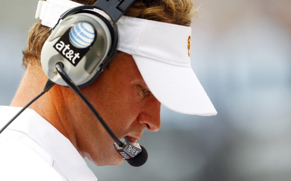 EAST RUTHERFORD, NJ - SEPTEMBER 08: Head coach Lane Kiffin of the USC Trojans during a game against the Syracuse Orangeat MetLife Stadium on September 8, 2012 in East Rutherford, New Jersey. (Photo by Rich Schultz/Getty Images)