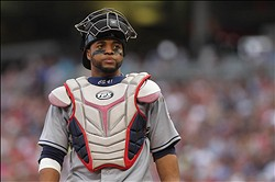 July 28, 2012; Minneapolis, MN, USA; Cleveland Indians catcher Carlos Santana (41) against the Minnesota Twins at Target Field. The Twins defeated the Indians 12-5. Mandatory Credit: Brace Hemmelgarn-US PRESSWIRE
