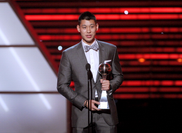LOS ANGELES, CA - JULY 11:  NBA player Jeremy Lin of the New York Knicks accepts the Best Breakthrough Athlete award onstage during the 2012 ESPY Awards at Nokia Theatre L.A. Live on July 11, 2012 in Los Angeles, California.  (Photo by Kevin Winter/Getty Images)