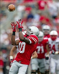 Sept 1, 2012; Columbus, OH, USA; Ohio State Buckeyes wide receiver Corey Brown (10) catches a pass during the game against the Miami Redhawks at Ohio Stadium. Mandatory Credit: Rob Leifheit-US PRESSWIRE