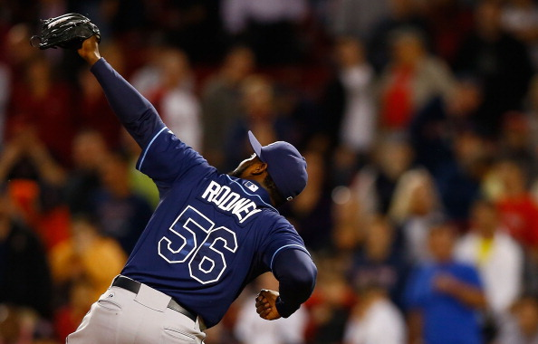 BOSTON, MA - SEPTEMBER 26:  Fernando Rodney #56 of the Tampa Bay Rays celebrates following their win against the Boston Red Sox during the game on September 26, 2012 at Fenway Park in Boston, Massachusetts.  (Photo by Jared Wickerham/Getty Images)