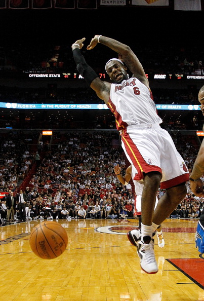 MIAMI, FL - DECEMBER 18:  LeBron James #6 of the Miami Heat loses the ball during a preseason game against the Orlando Magic at AmericanAirlines Arena on December 18, 2011 in Miami, Florida. NOTE TO USER: User expressly acknowledges and agrees that, by downloading and or using this Photograph, user is consenting to the terms and condition of the Getty Images License Agreement. (Photo by Mike Ehrmann/Getty Images)