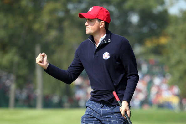 MEDINAH, IL - SEPTEMBER 28:  Keegan Bradley of the USA reacts after holing his putt on the first green during the Afternoon Four-Ball Matches for The 39th Ryder Cup at Medinah Country Club on September 28, 2012 in Medinah, Illinois.  (Photo by Andrew Redington/Getty Images)