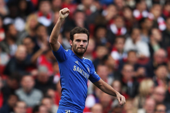 LONDON, ENGLAND - SEPTEMBER 29:  Chelsea's Juan Mata celebrates scoring Chelsea's second goal of the match during the Barclays Premier League match between Arsenal and Chelsea at Emirates Stadium on September 29, 2012 in London, England.  (Photo by Richard Heathcote/Getty Images)