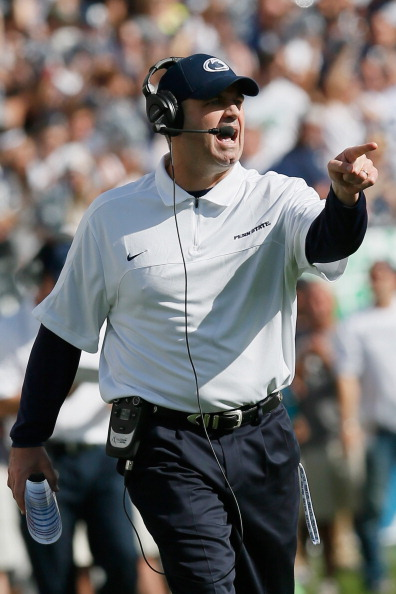 STATE COLLEGE, PA - SEPTEMBER 15:  Head coach Bill O'Brien of the Penn State Nittany Lions gestures towards an official during the first half against the Navy Midshipmen at Beaver Stadium on September 15, 2012 in State College, Pennsylvania.  (Photo by Rob Carr/Getty Images)