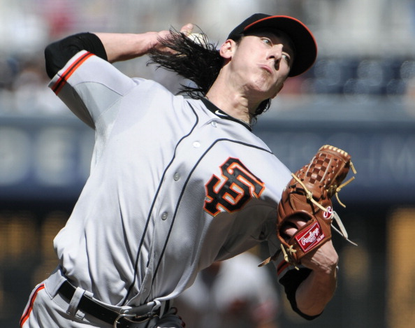 SAN DIEGO, CA - SEPTEMBER 30:  Tim Lincecum #55 of the San Francisco Giants pitches during the first inning of a baseball game against the San Diego Padres at Petco Park on September 30, 2012 in San Diego, California.  (Photo by Denis Poroy/Getty Images)
