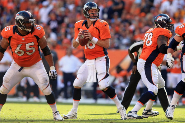 DENVER, CO - SEPTEMBER 30:  Quarterback Peyton Manning #18 of the Denver Broncos drops back to pass against the Oakland Raiders at Sports Authority Field at Mile High on September 30, 2012 in Denver, Colorado. The Broncos defeated the Raiders 37-6.  (Photo by Doug Pensinger/Getty Images)
