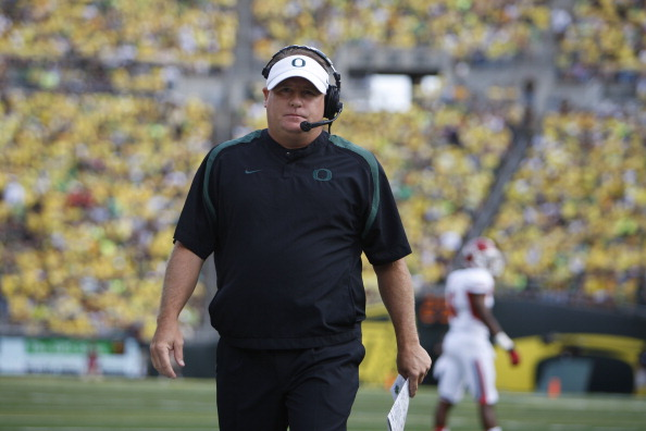 EUGENE, OR - SEPTEMBER 08:  Head coach Chip Kelly of University of Oregon Ducks during the second half of the game against Fresno State Bulldogs at Autzen Stadium on September 8, 2012 in Eugene, Oregon.  (Photo by Kevin Casey/Getty Images)