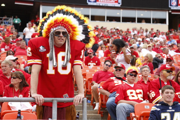 KANSAS CITY, MO - SEPTEMBER 30: Kansas City Chiefs fans look on late in the game against the San Diego Chargers at Arrowhead Stadium on September 30, 2012 in Kansas City, Missouri. The Chargers won 37-20. (Photo by Joe Robbins/Getty Images)