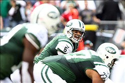 Sept. 30, 2012; East Rutherford, NJ, USA; New York Jets quarterback Mark Sanchez (6) calls out a play during the first quarter against the San Francisco 49ers at MetLife Stadium. Mandatory Credit: Debby Wong-US PRESSWIRE