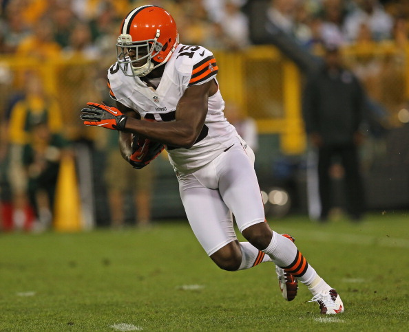 GREEN BAY, WI - AUGUST 16:  Greg Little #15 of the Cleveland Browns runs after making a catch during a preseason game at Lambeau Field on August 16, 2012 in Green Bay, Wisconsin. The Browns defeated the Packer 35-10.  (Photo by Jonathan Daniel/Getty Images)