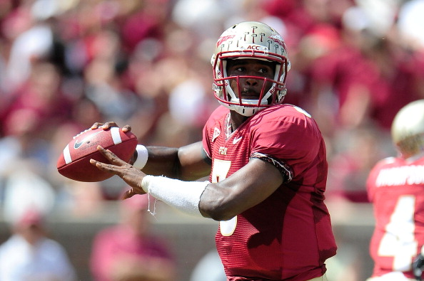 TALLAHASSEE, FL - SEPTEMBER 15:  E.J. Manuel #3 of the Florida State Seminoles drops back to pass against the Wake Forest Demon Deacons during a game at Doak Campbell Stadium on September 15, 2012 in Tallahassee, Florida.  (Photo by Stacy Revere/Getty Images)