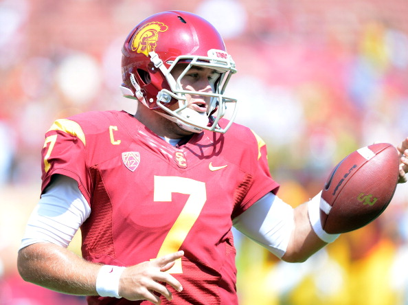 LOS ANGELES, CA - SEPTEMBER 22:  Matt Barkley #7 of the USC Trojans warms up before the game against the California Golden Bears at Los Angeles Memorial Coliseum on September 22, 2012 in Los Angeles, California.  (Photo by Harry How/Getty Images)