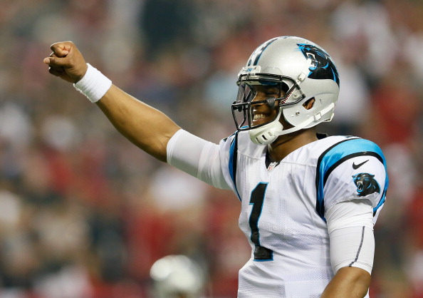 ATLANTA, GA - SEPTEMBER 30:  Cam Newton #1 of the Carolina Panthers reacts after tossing for a touchdown against the Atlanta Falcons at Georgia Dome on September 30, 2012 in Atlanta, Georgia.  (Photo by Kevin C. Cox/Getty Images)