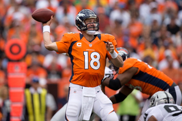 DENVER, CO - SEPTEMBER 30:  Quarterback Peyton Manning #18 of the Denver Broncos throws a pass against the Oakland Raiders at Sports Authority Field Field at Mile High on September 30, 2012 in Denver, Colorado. (Photo by Justin Edmonds/Getty Images)