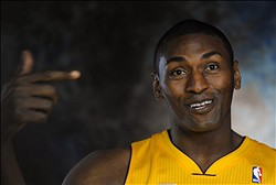 Oct.1, 2012, 2012;   El Segundo, CA, USA;   Los Angeles Lakers small forward Metta World Peace (15) during media day at the Los Angeles Lakers Training Center. Mandatory Credit: Jayne Kamin-Oncea-US PRESSWIRE