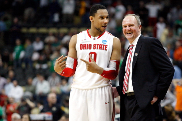 PITTSBURGH, PA - MARCH 17:  Head coach Thad Matta of the Ohio State Buckeyes talks with Jared Sullinger #0 late in the second half against the Gonzaga Bulldogs during the third round of the 2012 NCAA Men's Basketball Tournament at Consol Energy Center on March 17, 2012 in Pittsburgh, Pennsylvania.  (Photo by Jared Wickerham/Getty Images)