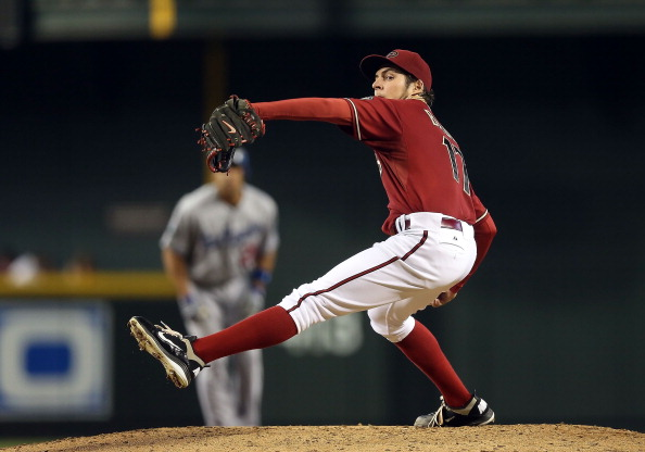 PHOENIX, AZ - JULY 08:  Starting pitcher Trevor Bauer #17 of the Arizona Diamondbacks pitches against the Los Angeles Dodgers during the MLB game at Chase Field on July 8, 2012 in Phoenix, Arizona. The Diamondbacks defeated the Dodgers 7-1.  (Photo by Christian Petersen/Getty Images)