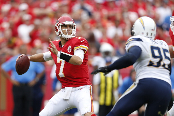 KANSAS CITY, MO - SEPTEMBER 30: Matt Cassel #7 of the Kansas City Chiefs passes the football against the San Diego Chargers during the game at Arrowhead Stadium on September 30, 2012 in Kansas City, Missouri. (Photo by Joe Robbins/Getty Images)