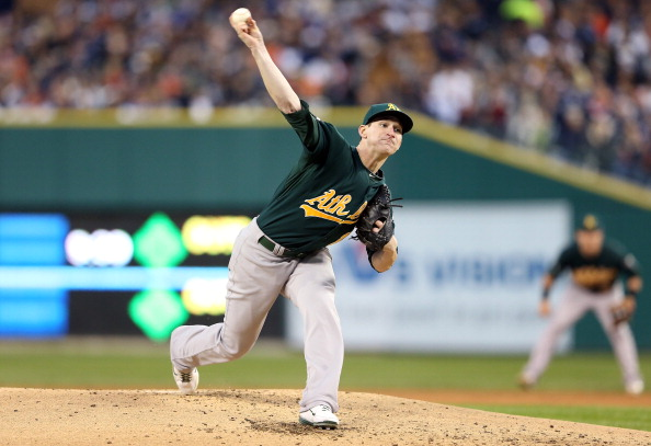 DETROIT, MI - OCTOBER 06:  Jarrod Parker #11 of the Oakland Athletics throws a pitch against the Detroit Tigers during Game One of the American League Divisional Series at Comerica Park on October 6, 2012 in Detroit, Michigan.  (Photo by Leon Halip/Getty Images)