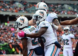 Oct 7, 2012; Columbus, OH, USA; Miami Dolphins running back Reggie Bush (22) celebrates after scoring a touchdown in the third quarter against the Cincinnati Bengals at Paul Brown Stadium. Mandatory Credit: Andrew Weber-US PRESSWIRE