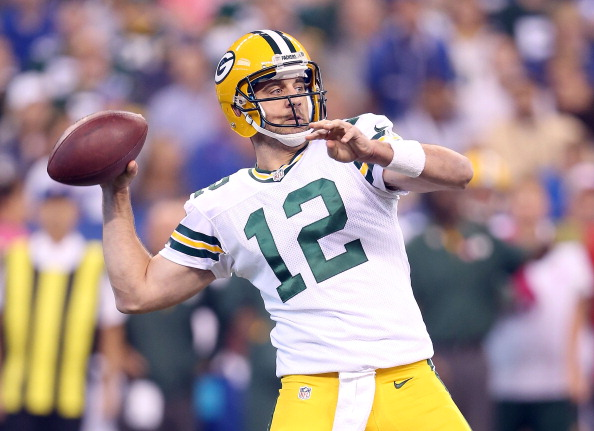 INDIANAPOLIS, IN - OCTOBER 07:  Aaron Rodgers #12 of the Green Bay Packers throws a pass during the NFL game against the Indianapolis Colts at Lucas Oil Stadium on October 7, 2012 in Indianapolis, Indiana.  (Photo by Andy Lyons/Getty Images)