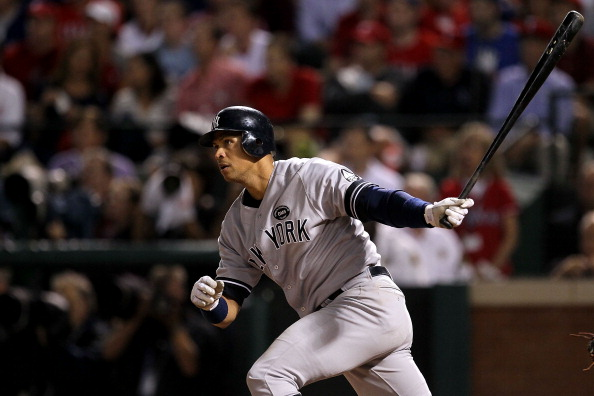 ARLINGTON, TX - OCTOBER 22:  Alex Rodriguez #13 of the New York Yankees bats against the Texas Rangers in Game Six of the ALCS during the 2010 MLB Playoffs at Rangers Ballpark in Arlington on October 22, 2010 in Arlington, Texas. The Rangers won 6-1. (Photo by Stephen Dunn/Getty Images)