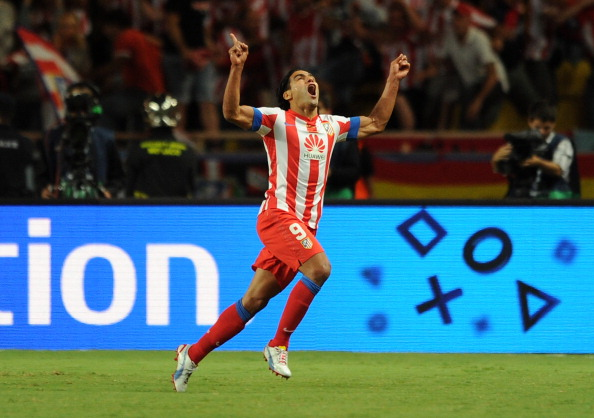 MONACO - AUGUST 31: Falcao of Atletico Madrid celebrates scoring his side's second goal during the UEFA Super Cup match between Chelsea and Atletico Madrid at Louis II Stadium on August 31, 2012 in Monaco, Monaco. (Photo by Chris Brunskill/Getty Images)