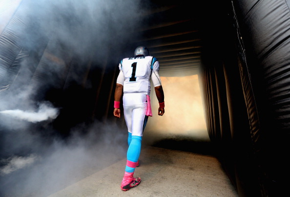 CHARLOTTE, NC - OCTOBER 07:   Cam Newton #1 of the Carolina Panthers makes his introduction before their game against the Seattle Seahawks at Bank of America Stadium on October 7, 2012 in Charlotte, North Carolina.  (Photo by Streeter Lecka/Getty Images)