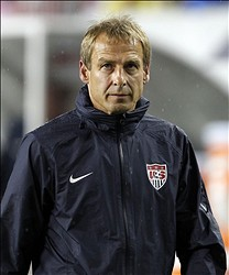 June 8, 2012; Tampa FL, USA; USA head caoch Jurgen Klinsmann on the sidelines against Antigua & Barbuda during the second half at Raymond James Stadium. USA defeated Antigua & Barbuda 3-1. Mandatory Credit: Matt Stamey-US PRESSWIRE