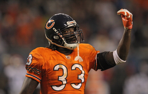 CHICAGO, IL - NOVEMBER 13: Charles Tillman #33 of the Chicago Bears encourages the crowd against the Detroit Lions at Soldier Field on November 13, 2011 in Chicago, Illinois. The Bears defeated the Lions 37-13. (Photo by Jonathan Daniel/Getty Images)