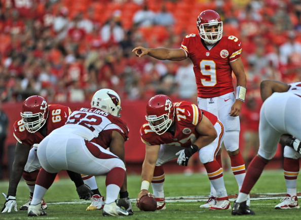 KANSAS CITY, MO - AUGUST 10:  Quarterback Brady Quinn #9 of the Kansas City Chiefs calls out a play against the Arizona Cardinals during the first half on August 10, 2012 at Arrowhead Stadium in Kansas City, Missouri.  (Photo by Peter Aiken/Getty Images)