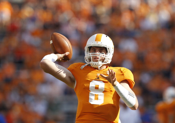 KNOXVILLE, TN - SEPTEMBER 15: Tyler Bray # 8 of the Tennessee Volunteers throws during pregame warm-ups before their game against the Florida Gators at Neyland Stadium on September 15, 2012 in Knoxville, Tennessee.    (Photo by John Sommers II/Getty Images)