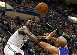 Oct 13, 2012; Hartford, CT, USA; Boston Celtics forward Jeff Green (8) dunks the ball against New York Knicks guard Jason Kidd (right) during the first half at XL Center.  Mandatory Credit: Mark L. Baer-US PRESSWIRE