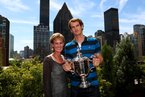 NEW YORK, NY - SEPTEMBER 11:  Andy Murray of Great Britain poses with the US Open Championship trophy next to his mother Judy Murray during his New York City trophy tour after his victory in in the 2012 US Open Championship final in Central Park on September 11, 2012 in New York City.  (Photo by Clive Brunskill/Getty Images)