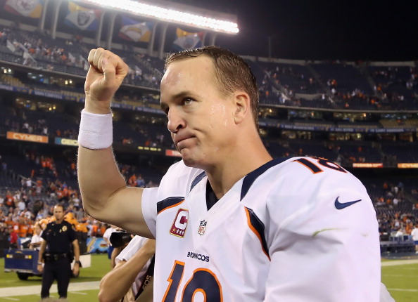 SAN DIEGO, CA - OCTOBER 15:  Quarterback Peyton Manning #18 of the Denver Broncos celebrates his teams 35-24 victory ovet the San Diego Chargers at Qualcomm Stadium on October 15, 2012 in San Diego, California.  (Photo by Jeff Gross/Getty Images)