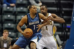 Oct 12, 2012; Indianapolis, IN, USA; Minnesota Timberwolves forward Derrick Williams (7) posts up against Indiana Pacers guard Same Young (4) at Bankers Life Fieldhouse. Indiana defeated Minnesota 96-91.  Mandatory Credit: Brian Spurlock-US PRESSWIRE