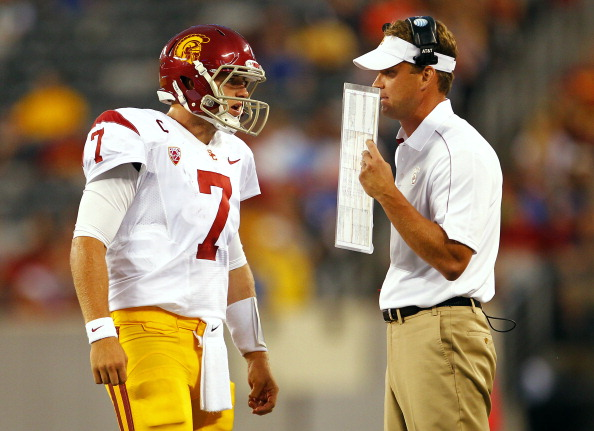 EAST RUTHERFORD, NJ - SEPTEMBER 08: Head coach Lane Kiffin of the USC Trojans talks to quarterback Matt Barkley #7 during a game against the Syracuse Orange at MetLife Stadium on September 8, 2012 in East Rutherford, New Jersey. (Photo by Rich Schultz/Getty Images)