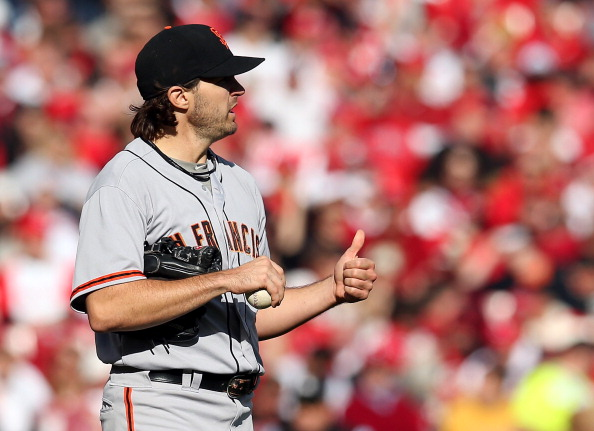 CINCINNATI, OH - OCTOBER 10:  Barry Zito #75 of the San Francisco Giants reacts in the first inning against the Cincinnati Reds in Game Four of the National League Division Series at the Great American Ball Park on October 10, 2012 in Cincinnati, Ohio.  (Photo by Jonathan Daniel/Getty Images)