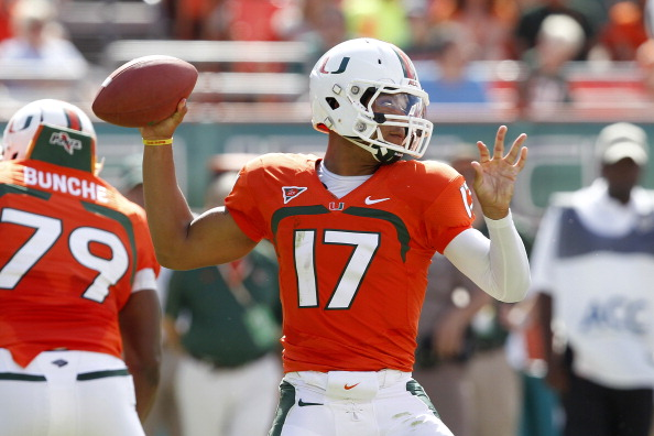 MIAMI GARDENS, FL - OCTOBER 13: Stephen Morris #17 of the Miami Hurricanes throws the ball against the North Carolina Tar Heels on October 13, 2012 at Sun Life Stadium in Miami Gardens, Florida. (Photo by Joel Auerbach/Getty Images)