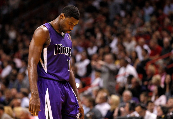 MIAMI, FL - FEBRUARY 21:  Tyreke Evans #13 of the Sacramento Kings looks on during a game against the Miami Heat at American Airlines Arena on February 21, 2012 in Miami, Florida. NOTE TO USER: User expressly acknowledges and agrees that, by downloading and/or using this Photograph, User is consenting to the terms and conditions of the Getty Images License Agreement.  (Photo by Mike Ehrmann/Getty Images)