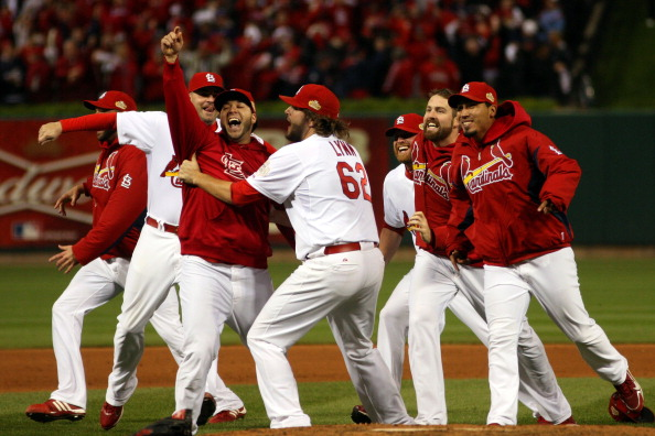 ST LOUIS, MO - OCTOBER 28:  Lance Lynn #62 and the St. Louis Cardinals celebrate after defeating the Texas Rangers 6-2 to win the World Series in Game Seven of the MLB World Series at Busch Stadium on October 28, 2011 in St Louis, Missouri.  (Photo by Michael Heiman/Getty Images)