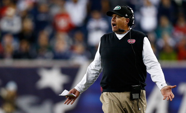 FOXBORO, MA - OCTOBER 21:  Head coach Rex Ryan of the New York Jets yells to the referees during the game against the New England Patriots on October 21, 2012 at Gillette Stadium in Foxboro, Massachusetts.  (Photo by Jared Wickerham/Getty Images)