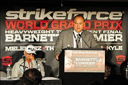 May 19, 2012; San Jose, CA, USA; Strikeforce chief executive officer Scott Coker addresses the media during a press conference after the heavyweight tournament final bout of the Strikeforce World Grand Prix at HP Pavilion.  Mandatory Credit: Kyle Terada-US PRESSWIRE