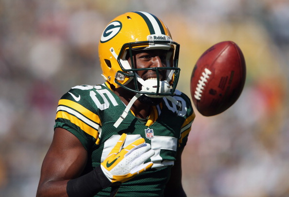 GREEN BAY, WI - SEPTEMBER 30:  Wide receiver Greg Jennings #85 of the Green Bay Packers looks on prior to the start of the game against the New Orleans Saints at Lambeau Field on September 30, 2012 in Green Bay, Wisconsin.  (Photo by Jeff Gross/Getty Images)