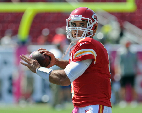 TAMPA, FL - OCTOBER 14:  Quarterback Brady Quinn #9 of the Kansas City Chiefs warms up for play against the Tampa Bay Buccaneers October 14, 2012 at Raymond James Stadium in Tampa, Florida.  (Photo by Al Messerschmidt/Getty Images)